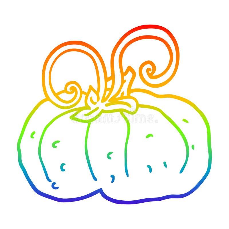 A creative rainbow gradient line drawing cartoon winter squash. An original creative rainbow gradient line drawing cartoon winter squash royalty free illustration