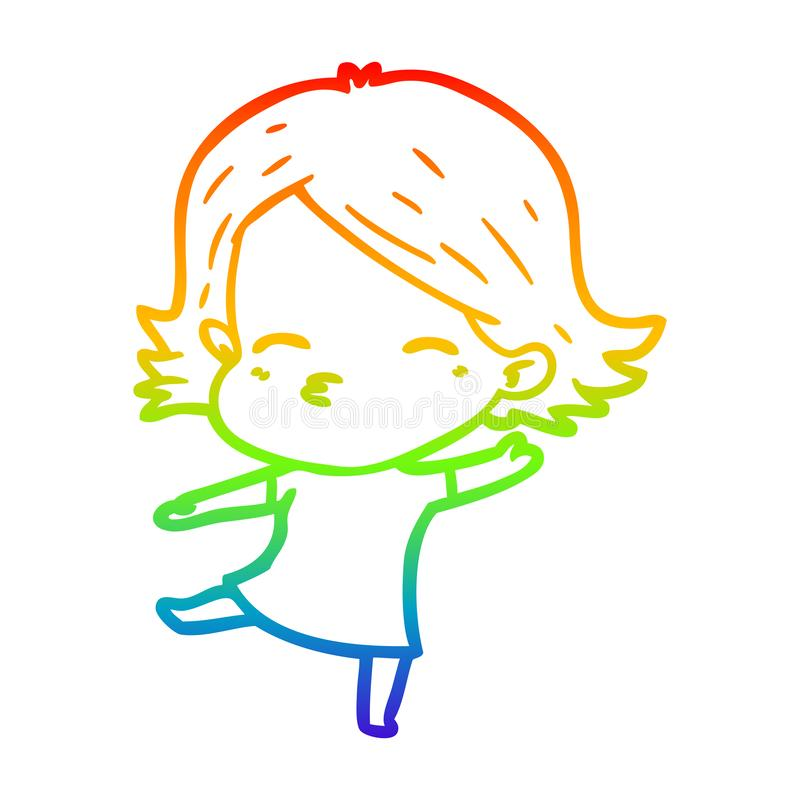 A creative rainbow gradient line drawing cartoon woman dancing. An original creative rainbow gradient line drawing cartoon woman dancing royalty free illustration