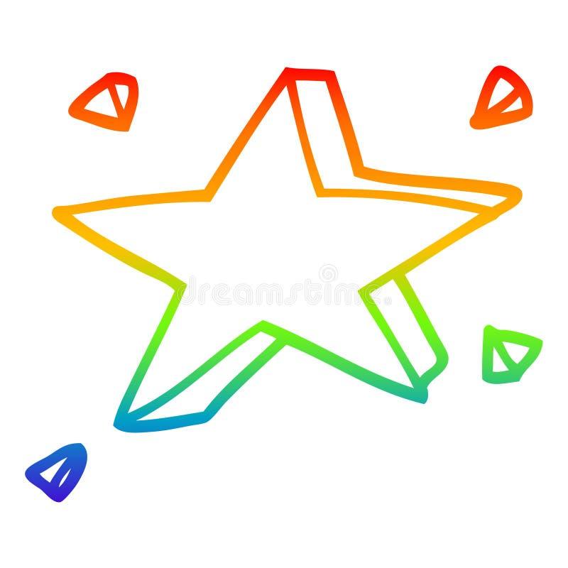 A creative rainbow gradient line drawing cartoon yellow stars. An original creative rainbow gradient line drawing cartoon yellow stars vector illustration