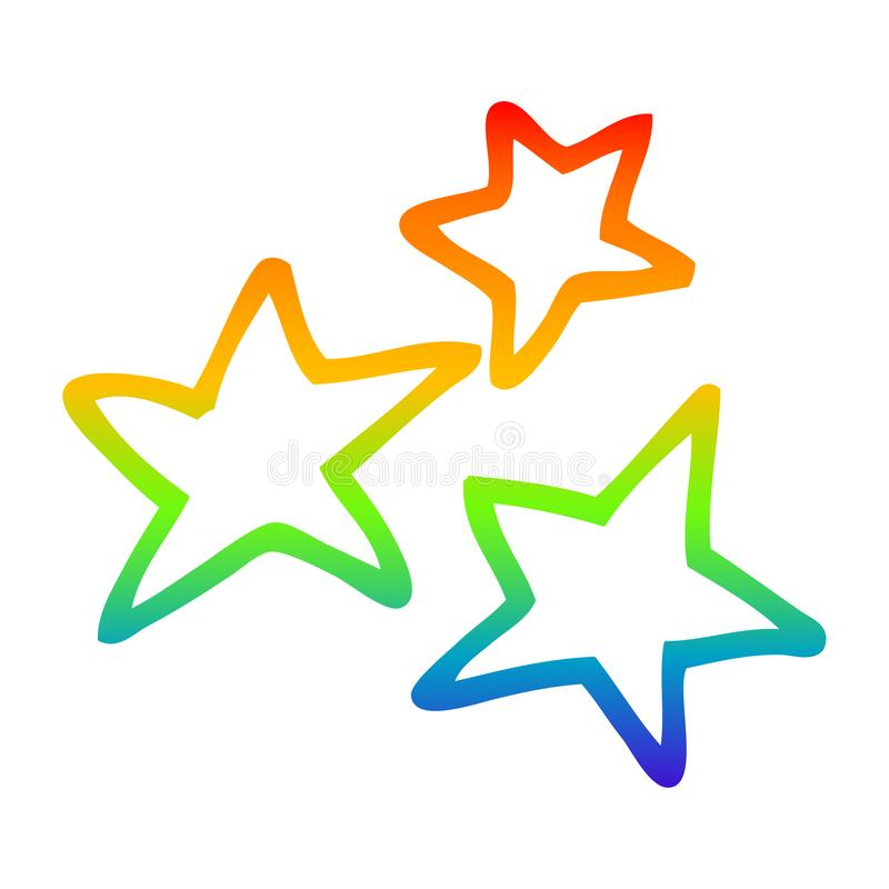 A creative rainbow gradient line drawing cartoon yellow stars. An original creative rainbow gradient line drawing cartoon yellow stars royalty free illustration