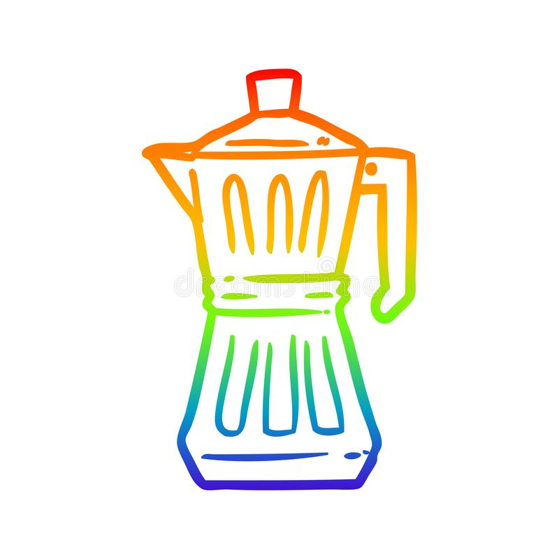 A creative rainbow gradient line drawing espresso maker. An original creative rainbow gradient line drawing espresso maker vector illustration