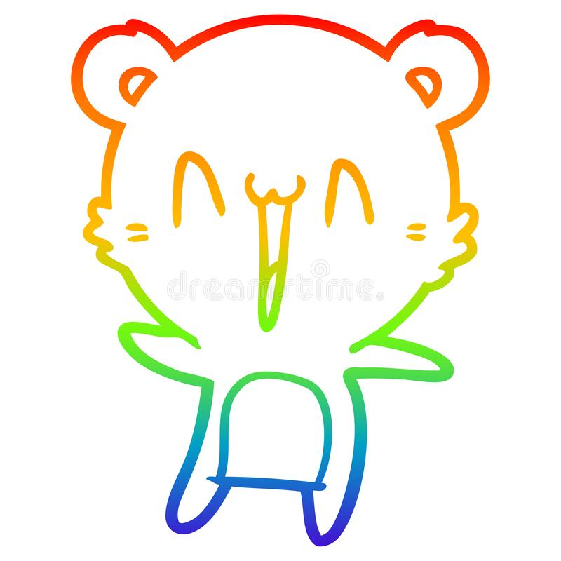 A creative rainbow gradient line drawing happy bear cartoon. An original creative rainbow gradient line drawing happy bear cartoon stock illustration