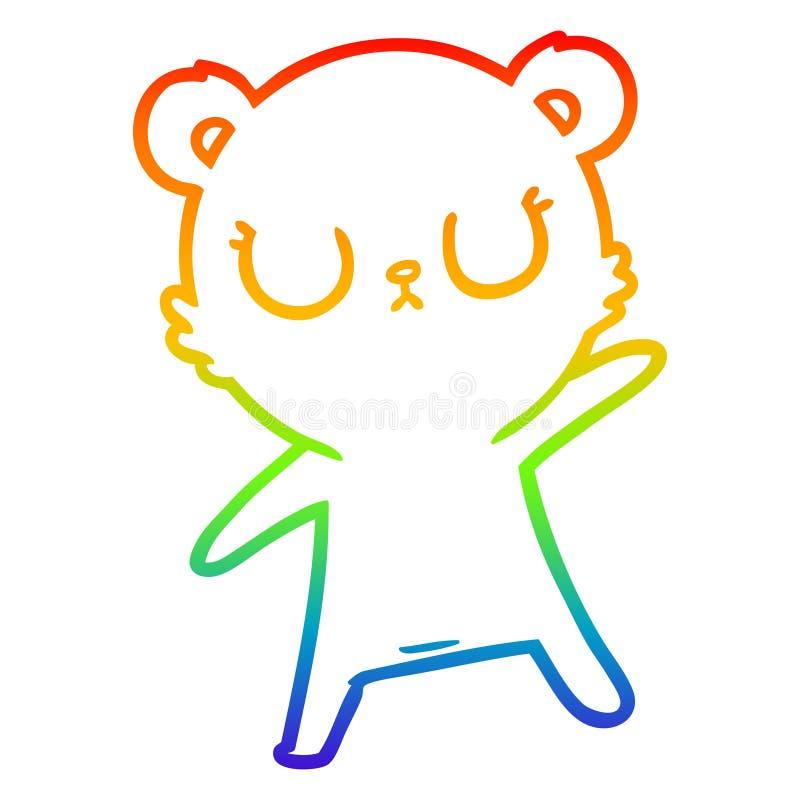 A creative rainbow gradient line drawing peaceful cartoon bear. An original creative rainbow gradient line drawing peaceful cartoon bear royalty free illustration