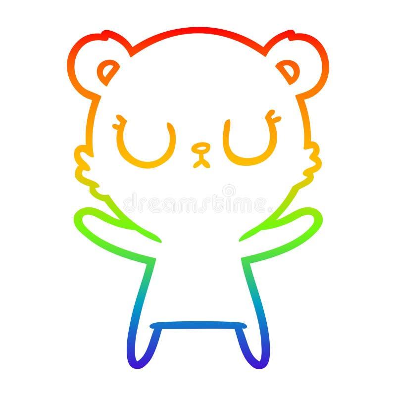 A creative rainbow gradient line drawing peaceful cartoon bear. An original creative rainbow gradient line drawing peaceful cartoon bear stock illustration