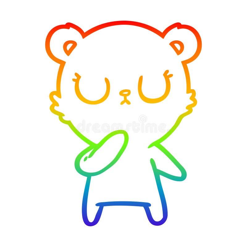 A creative rainbow gradient line drawing peaceful cartoon polar bear. An original creative rainbow gradient line drawing peaceful cartoon polar bear stock illustration