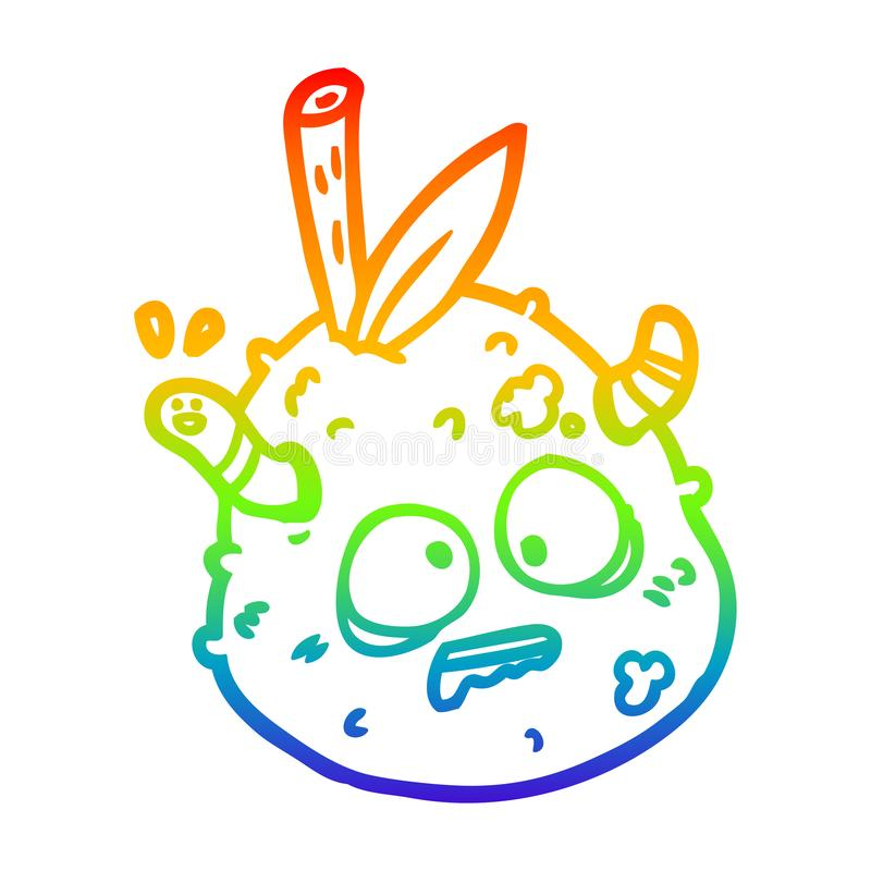 A creative rainbow gradient line drawing rotting old pear with worm. An original creative rainbow gradient line drawing rotting old pear with worm stock illustration