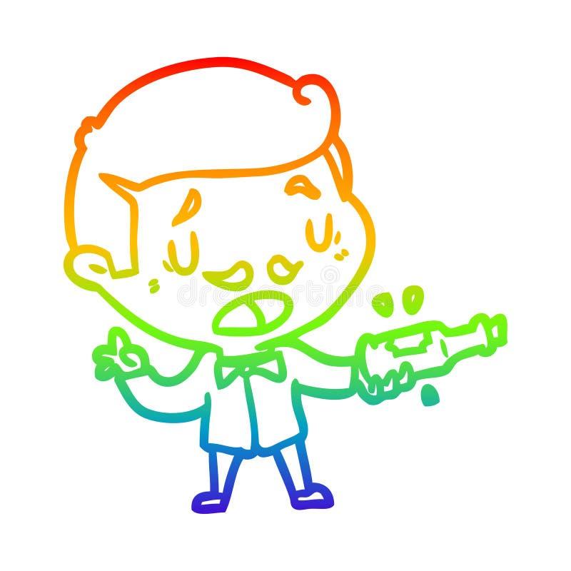 A creative rainbow gradient line drawing wine expert explaining. An original creative rainbow gradient line drawing wine expert explaining royalty free illustration
