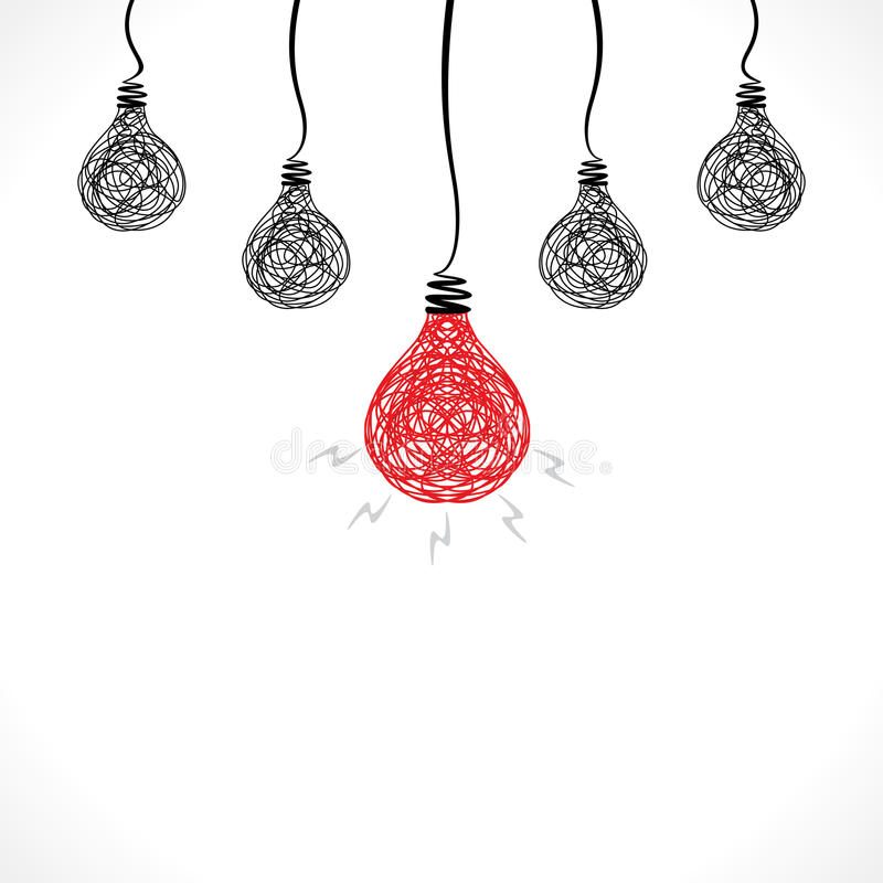 Free Creative Red Bulb With New Idea Or Bulb Background Stock Images - 43985934