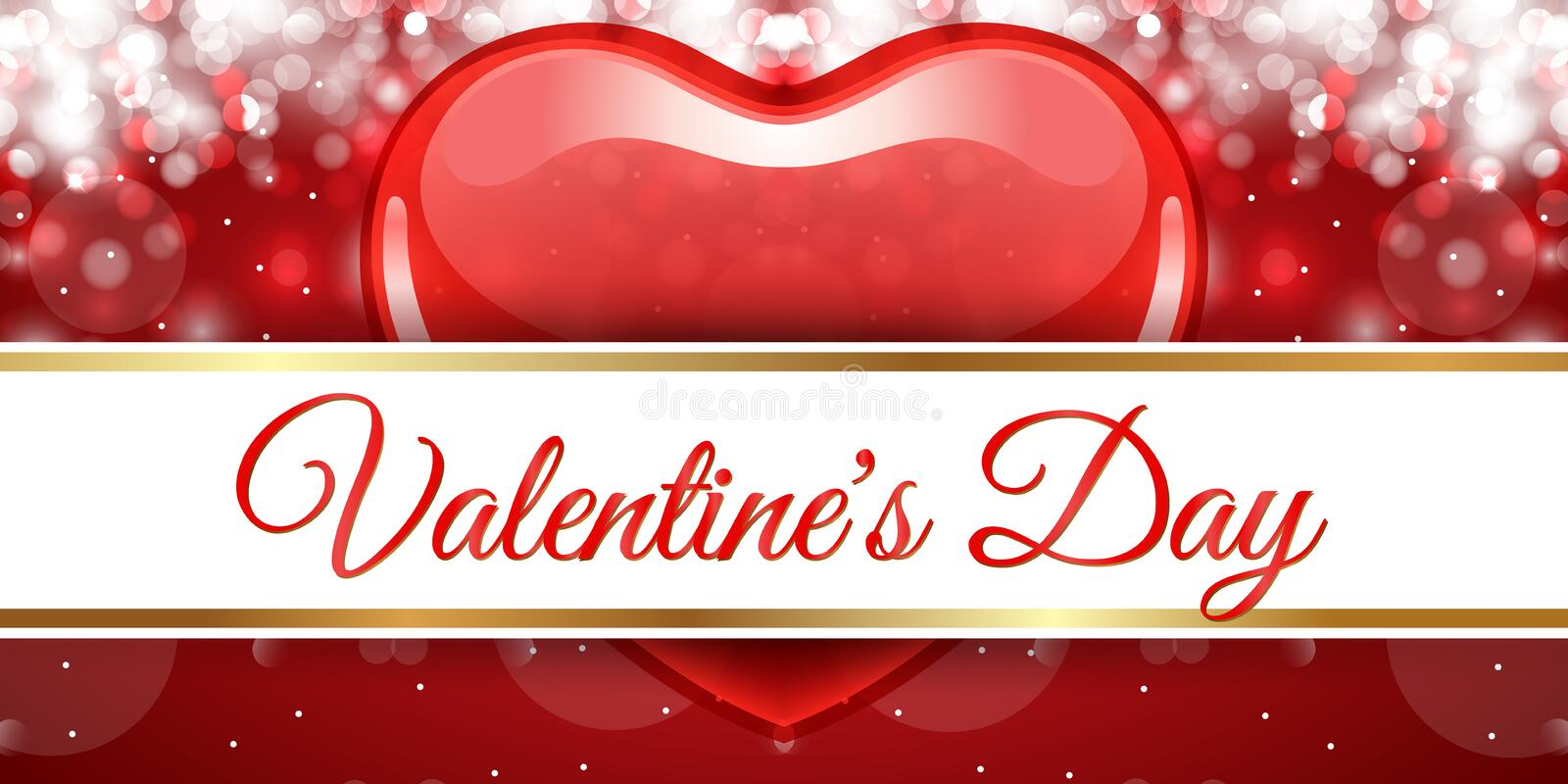 Creative red heart banner valentine day stock images