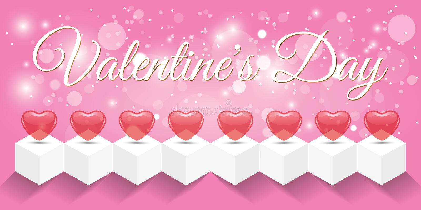 Creative red heart banner valentine day stock photos