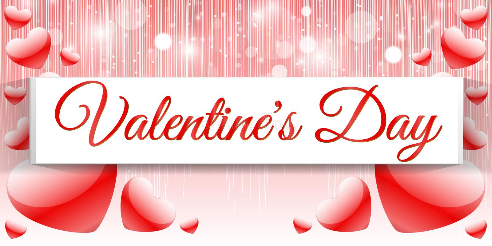 Creative red heart banner valentine day royalty free stock images