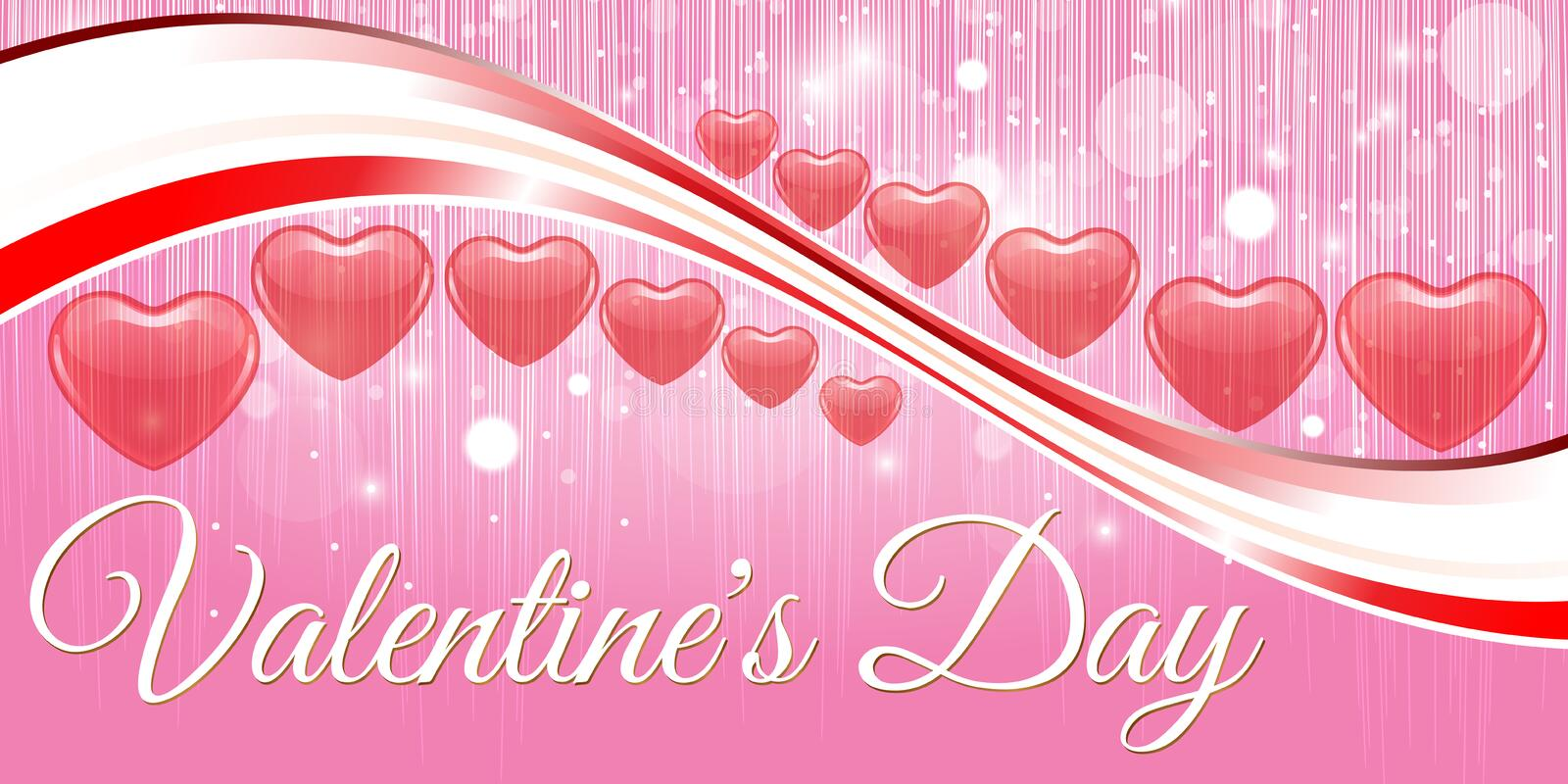 Creative red heart banner valentine day royalty free stock photo