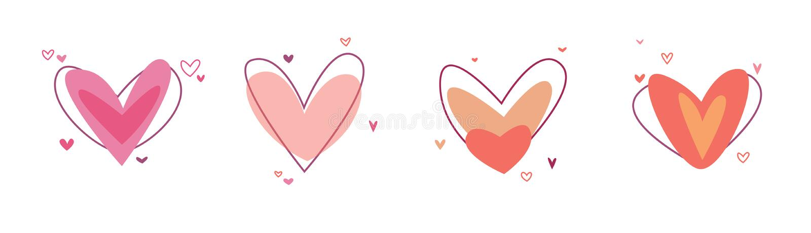 Creative red hearts icon set. Valentines day sign symbol template. Flat design. Love greeting card. Design style stock illustration