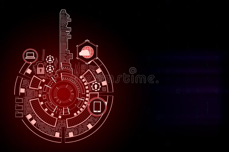 Creative red key interface backdrop. Creative digital red key interface on dark backdrop with icons. Access, safety and innovation concept. 3D Rendering stock illustration
