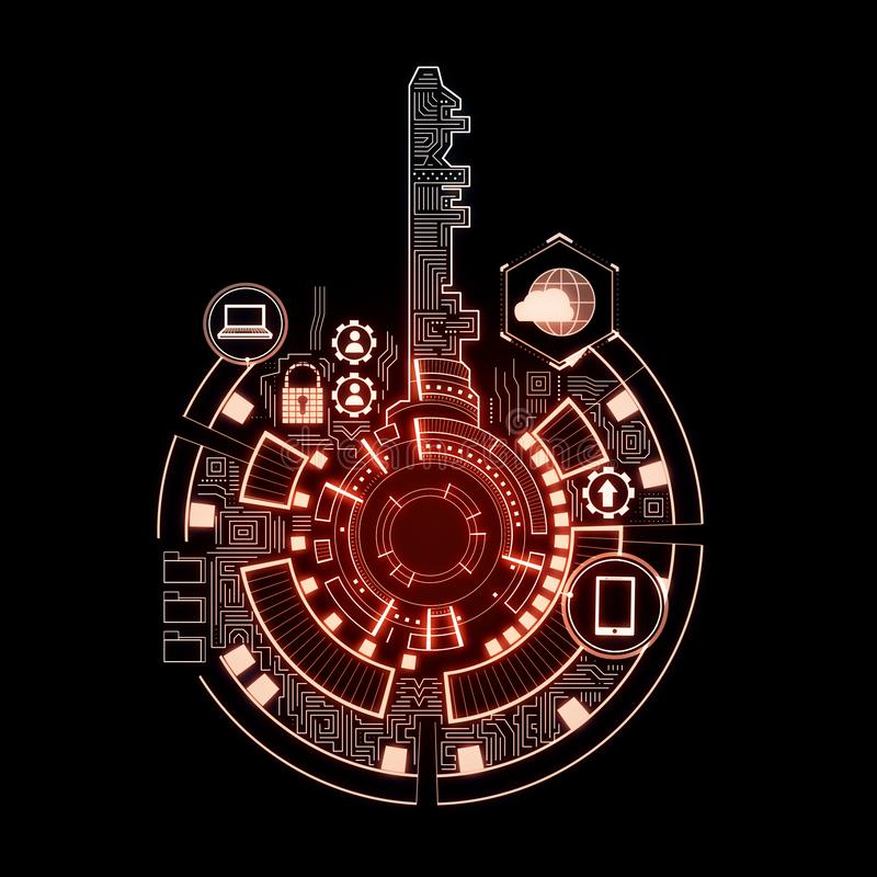 Creative red key interface background. Creative digital red key interface on dark background with icons. Access, safety and innovation concept. 3D Rendering royalty free illustration