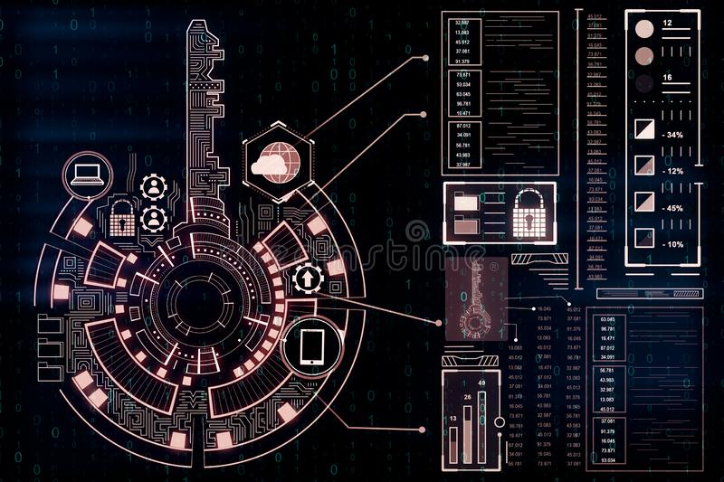 Creative red key interface wallpaper. Creative digital red key interface on dark wallpaper with icons. Access, safety and innovation concept. 3D Rendering stock illustration