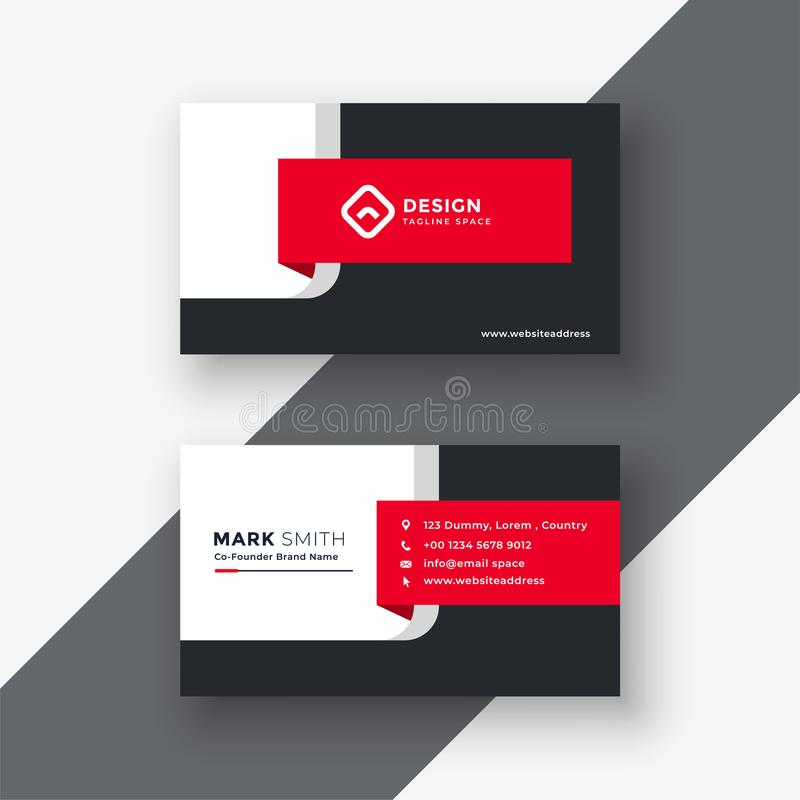 Creative red professional business card template royalty free illustration