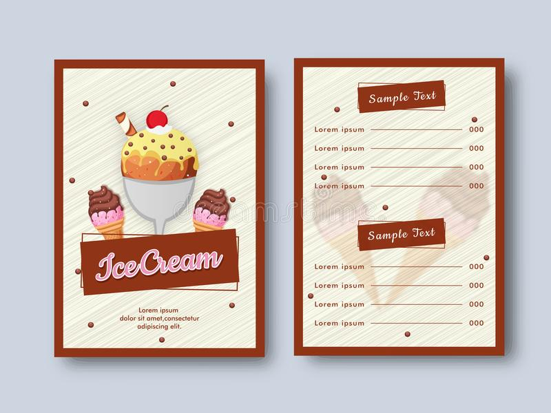 Creative Restaurant Menu Card design with front and back page vi. Ew stock illustration