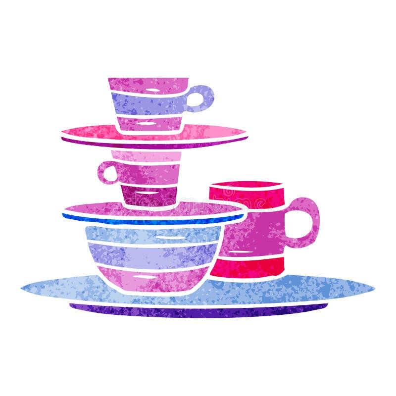 A creative retro cartoon doodle of colourful bowls and plates. An original creative retro cartoon doodle of colourful bowls and plates royalty free illustration