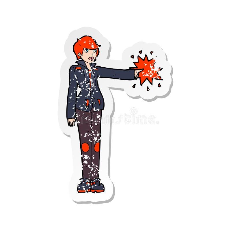 A creative retro distressed sticker of a cartoon biker woman pointing. An original creative retro distressed sticker of a cartoon biker woman pointing stock illustration