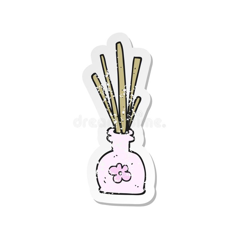 A creative retro distressed sticker of a cartoon fragrance oil reeds royalty free illustration