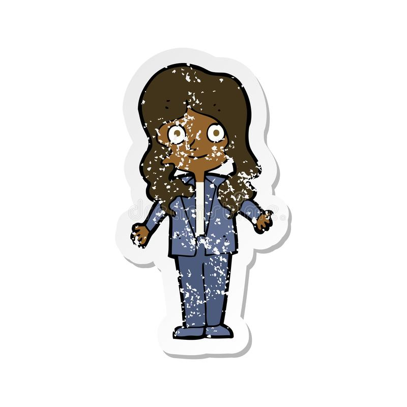 A creative retro distressed sticker of a cartoon friendly business woman. An original creative retro distressed sticker of a cartoon friendly business woman stock illustration