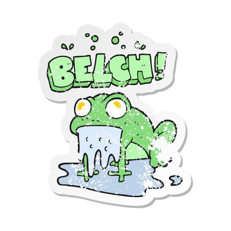 A creative retro distressed sticker of a cartoon gross little frog stock illustration