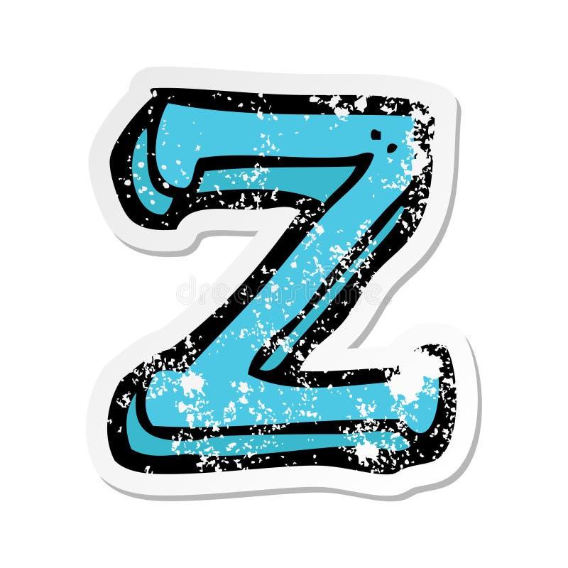 A creative retro distressed sticker of a cartoon letter Z vector illustration