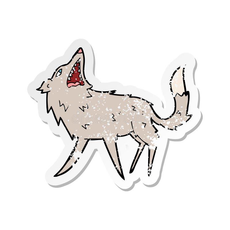 A creative retro distressed sticker of a cartoon snapping wolf. An original creative retro distressed sticker of a cartoon snapping wolf royalty free illustration