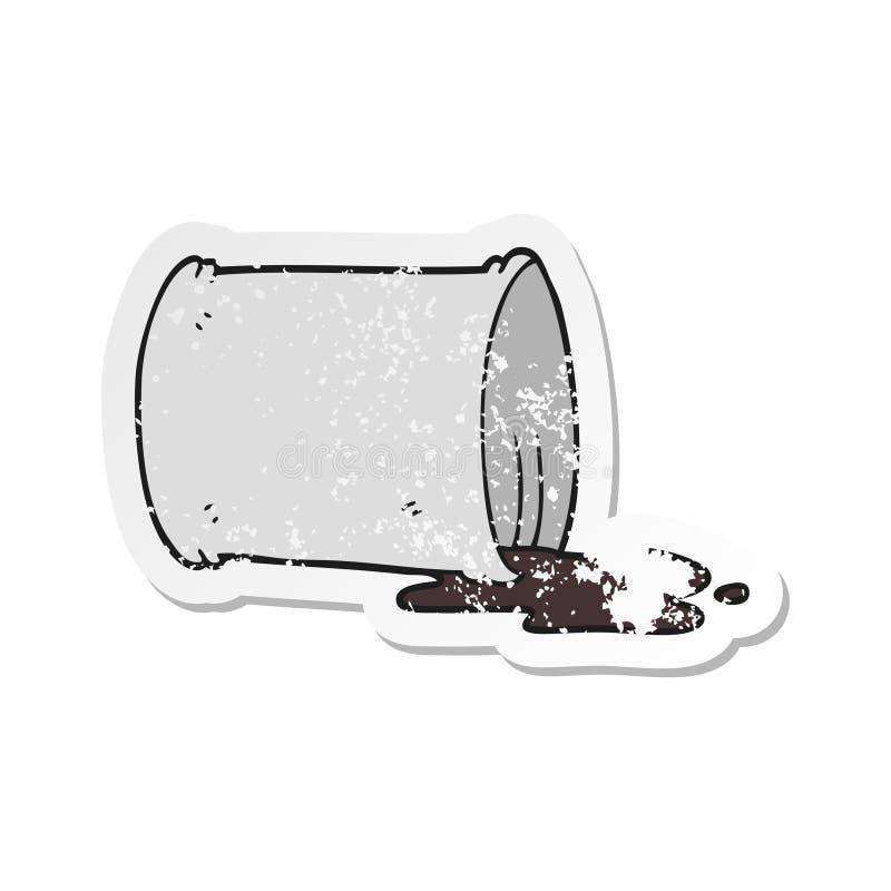 A creative retro distressed sticker of a cartoon spilled oil drum. An original creative retro distressed sticker of a cartoon spilled oil drum royalty free illustration