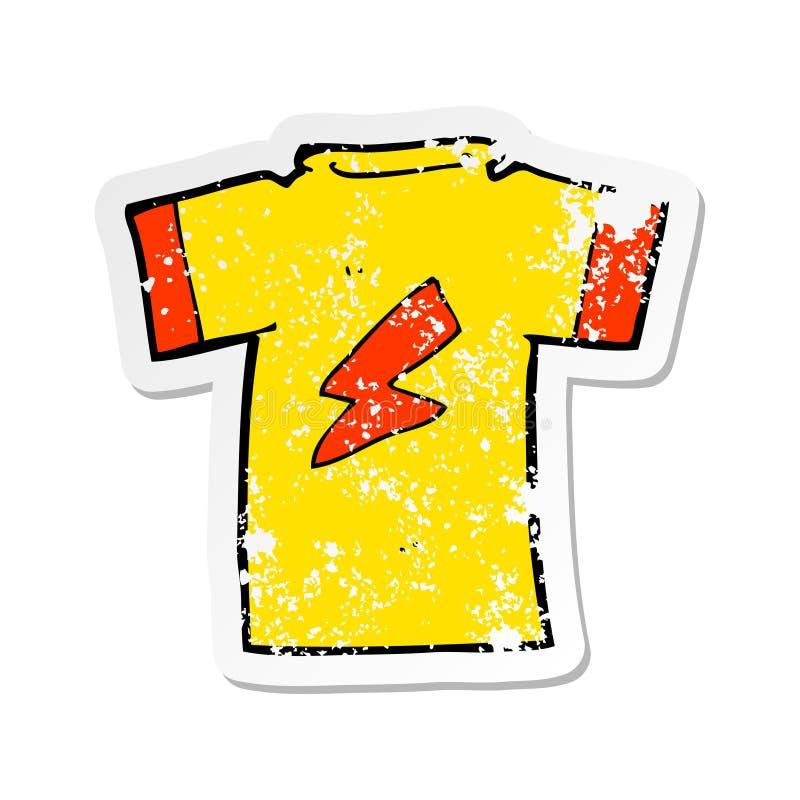 A creative retro distressed sticker of a cartoon t shirt with lightning bolt stock illustration