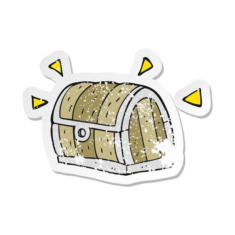 A creative retro distressed sticker of a cartoon treasure chest stock illustration