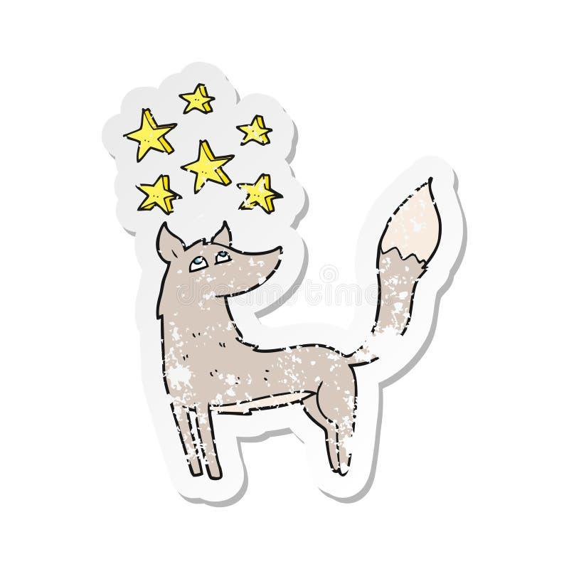 A creative retro distressed sticker of a cartoon wolf with stars. An original creative retro distressed sticker of a cartoon wolf with stars royalty free illustration