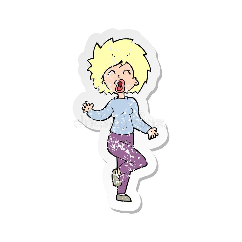 A creative retro distressed sticker of a cartoon woman dancing. An original creative retro distressed sticker of a cartoon woman dancing vector illustration