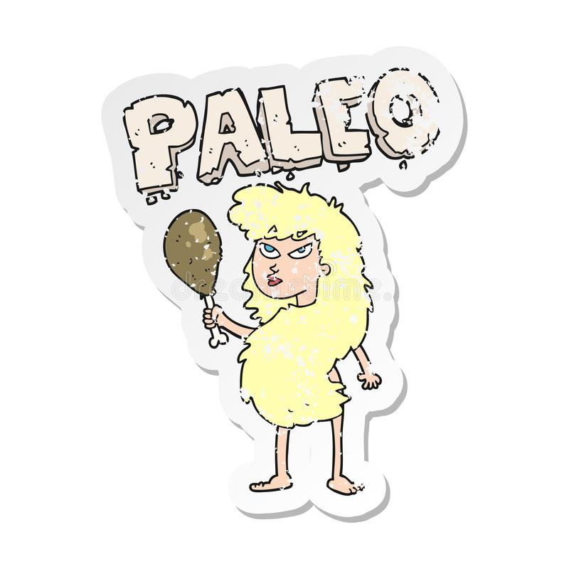 A creative retro distressed sticker of a cartoon woman on paleo diet stock illustration
