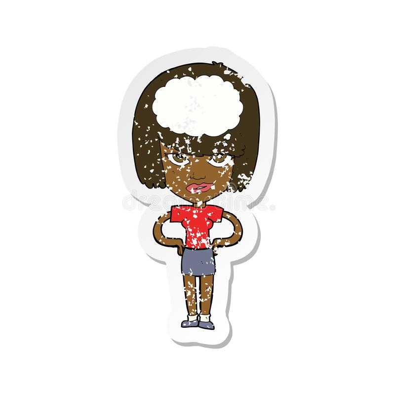 A creative retro distressed sticker of a cartoon woman thinking stock illustration