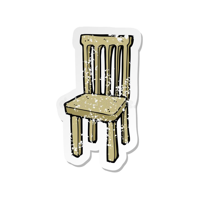 Sticker Wooden Old Chair Cartoon Character Cute Drawing