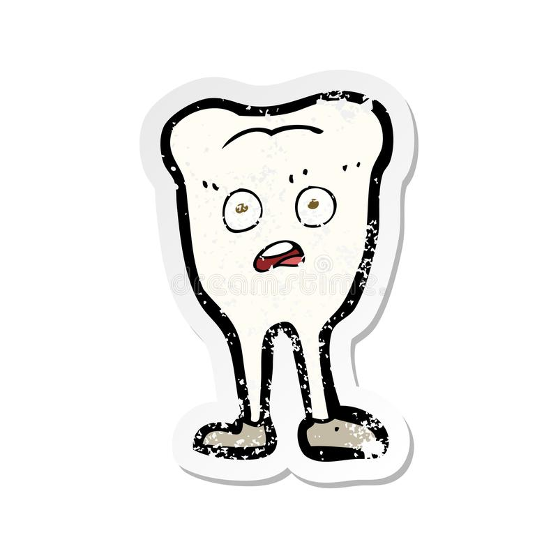 A creative retro distressed sticker of a cartoon yellowing  tooth vector illustration