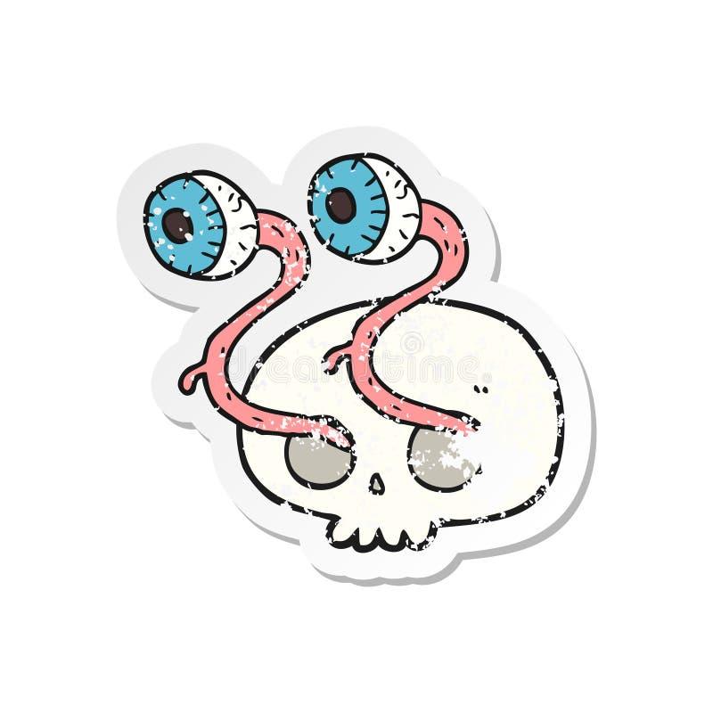 A creative retro distressed sticker of a gross cartoon eyeball skull stock illustration