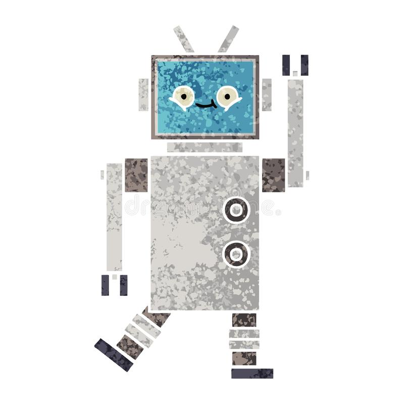 A creative retro illustration style cartoon robot royalty free illustration