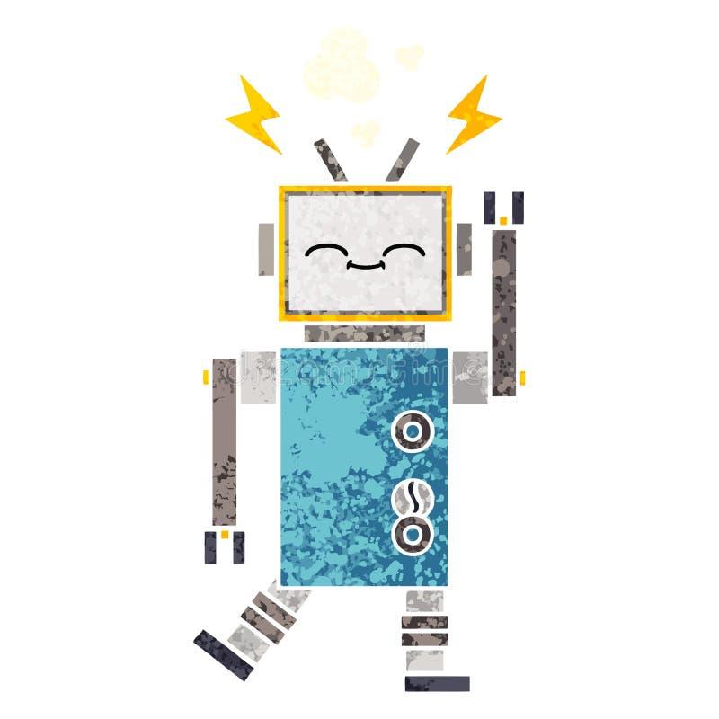 A creative retro illustration style cartoon robot vector illustration