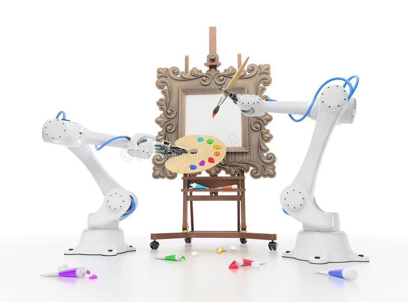 Creative Robotics. Industrial robots begins to create artistic painting. 3D-rendering graphic composition on the subject of `Artificial Intelligence stock illustration