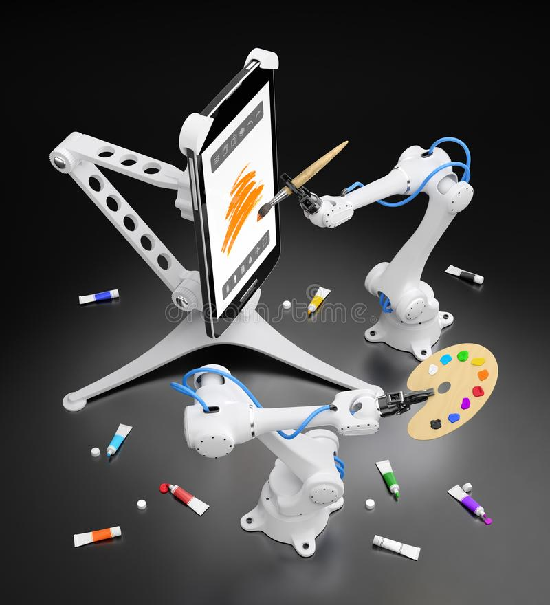 Creative Robotics. Industrial robots creating digital painting with mobile app. 3D-rendering graphic composition on the subject of `Artificial Intelligence royalty free illustration