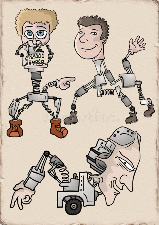 Creative robots illustraiton stock illustration