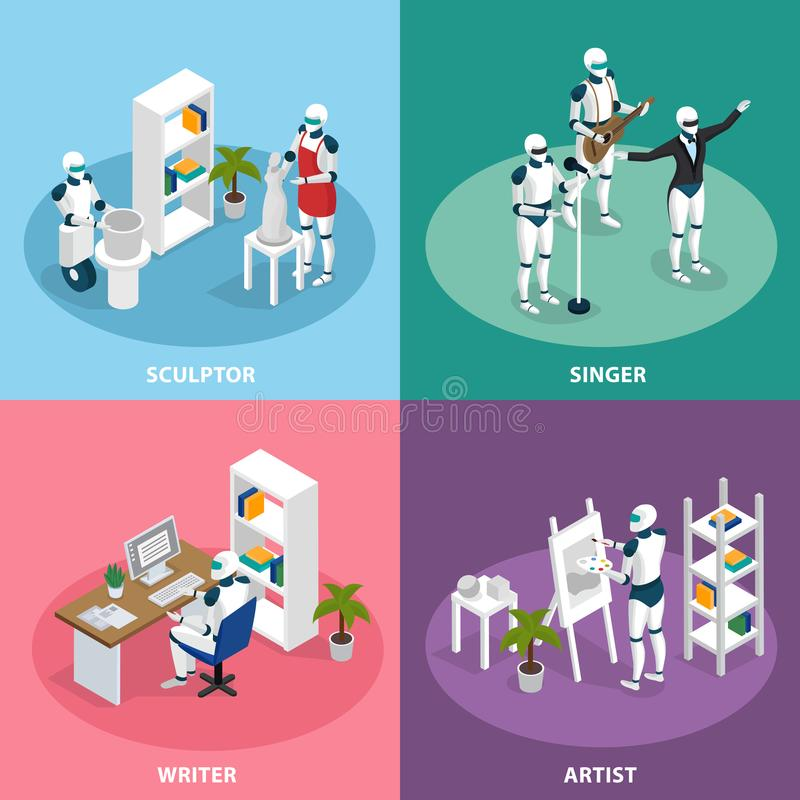 Creative Robots Isometric Concept vector illustration