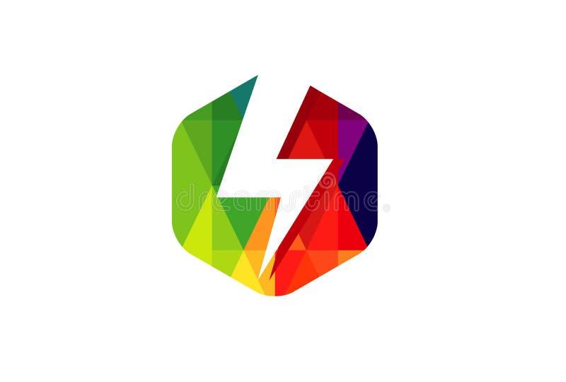 Colorful Hexagon Thunderbolt Power Symbol Design Illustration vector illustration
