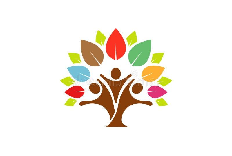 Colorful Tree Family Logo Design Illustration royalty free illustration