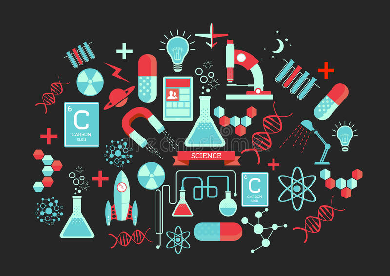 Creative Science Elements stock illustration