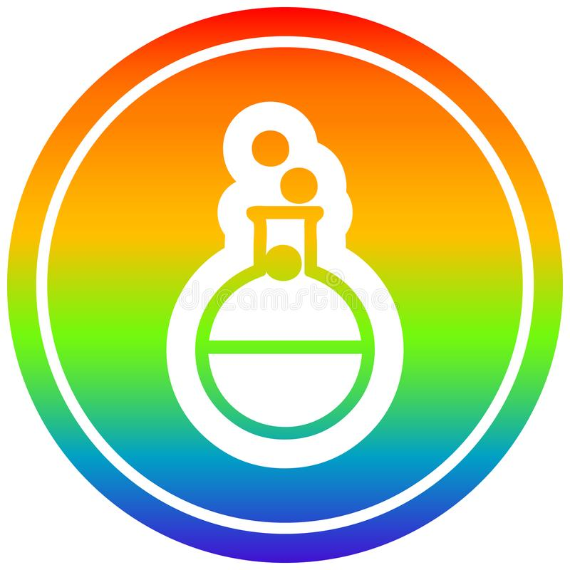 A creative science experiment circular in rainbow spectrum. An original creative science experiment circular in rainbow spectrum stock illustration