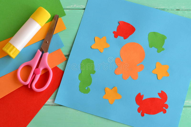 Creative Sea Animal Crafts For Kids. Stock Image - Image of doing ...
